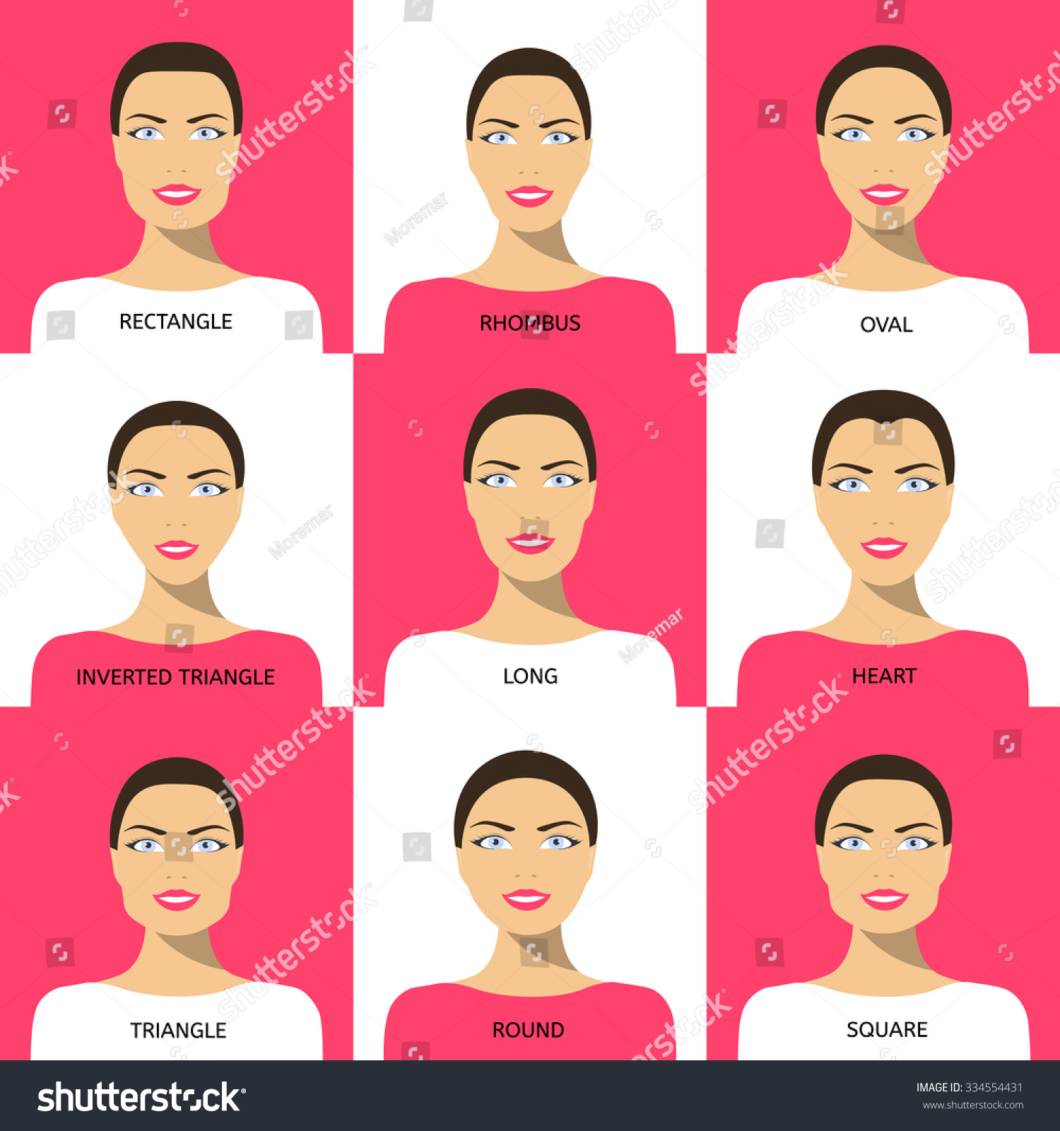 Womens faces set different face shapes stock vector 334554431 set of different face shapes oval circle square triangle urmus Image collections