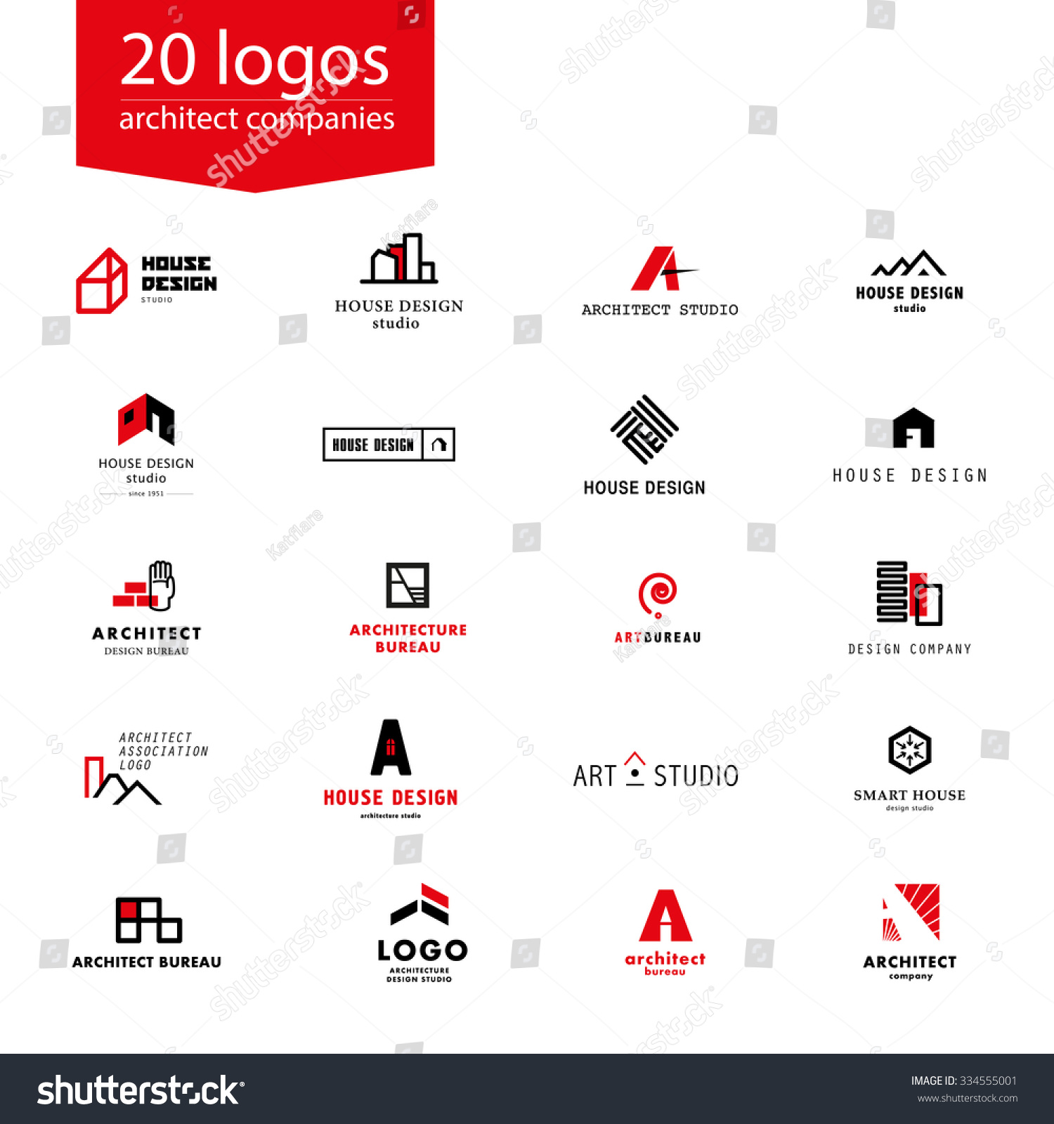 Vector flat architecture company logo collection design for Architecture and design company