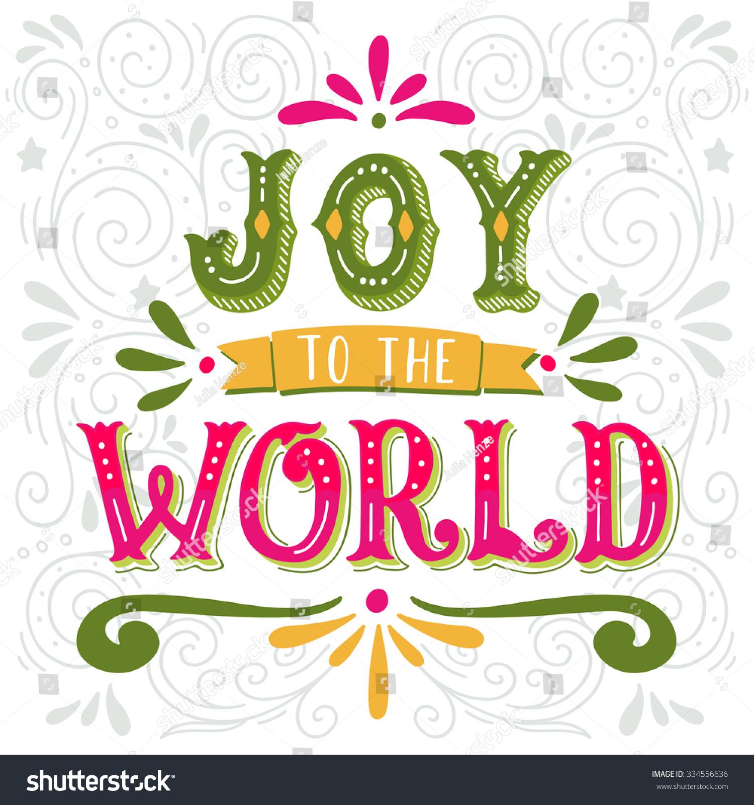 Joy World Christmas Retro Poster Hand Stock Vector (Royalty Free ...