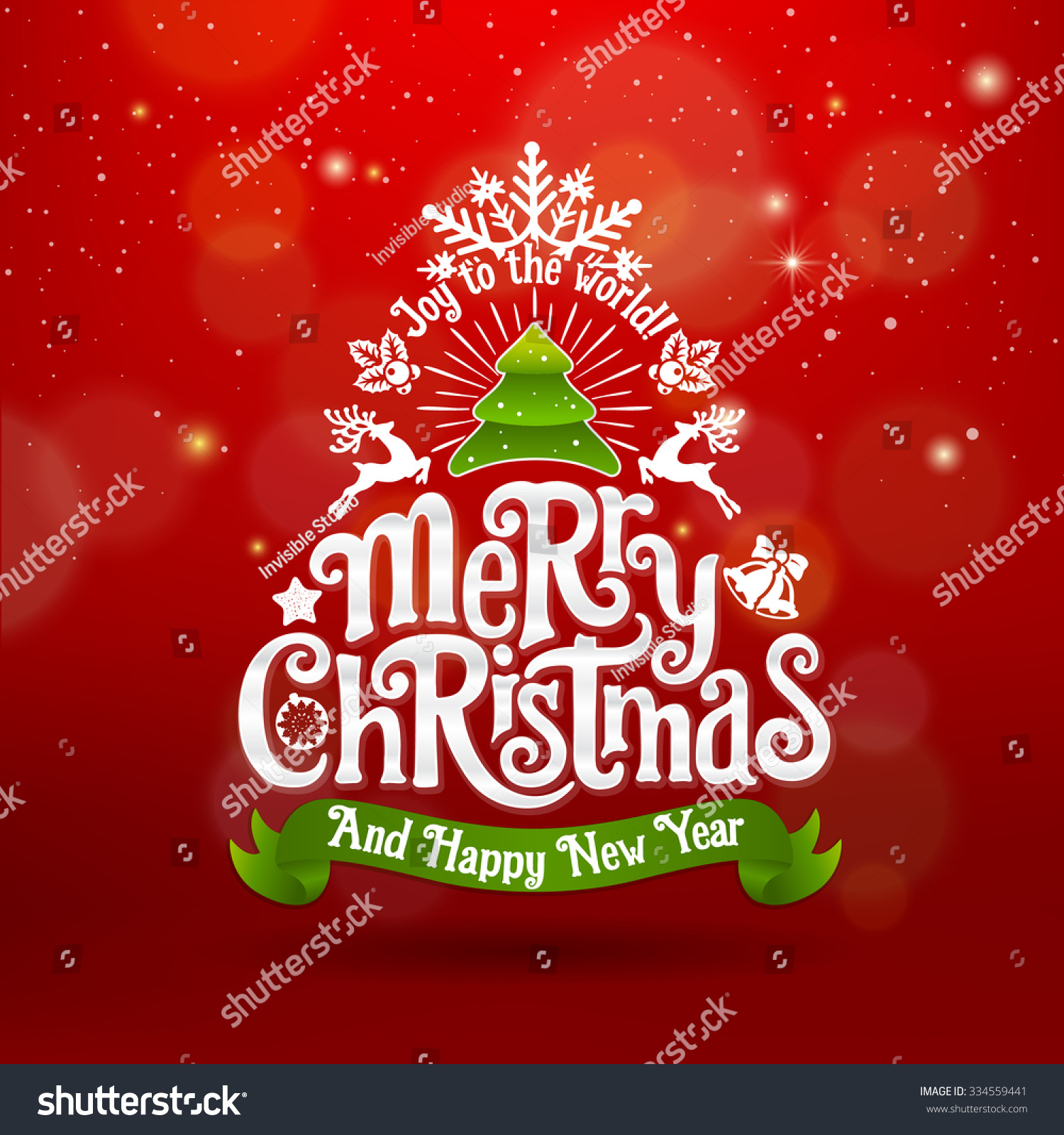 christmas and new year greeting card with tree