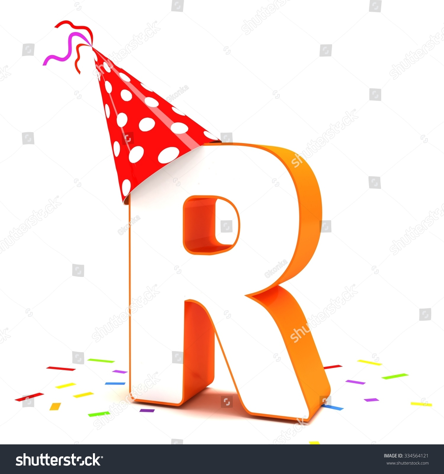 3d birthday letter r red party hat with colorful confetti isolated