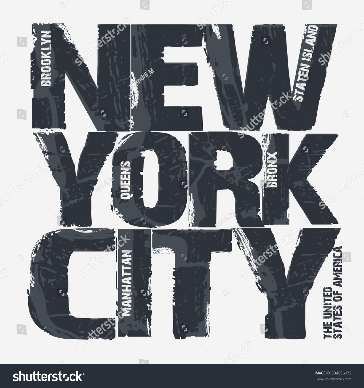 T Shirt Design York: New York City Typography Graphics Brooklyn Stock Vector