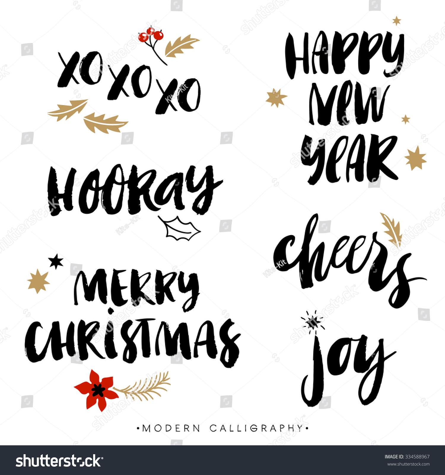 Christmas calligraphy phrases xoxo happy new stock vector