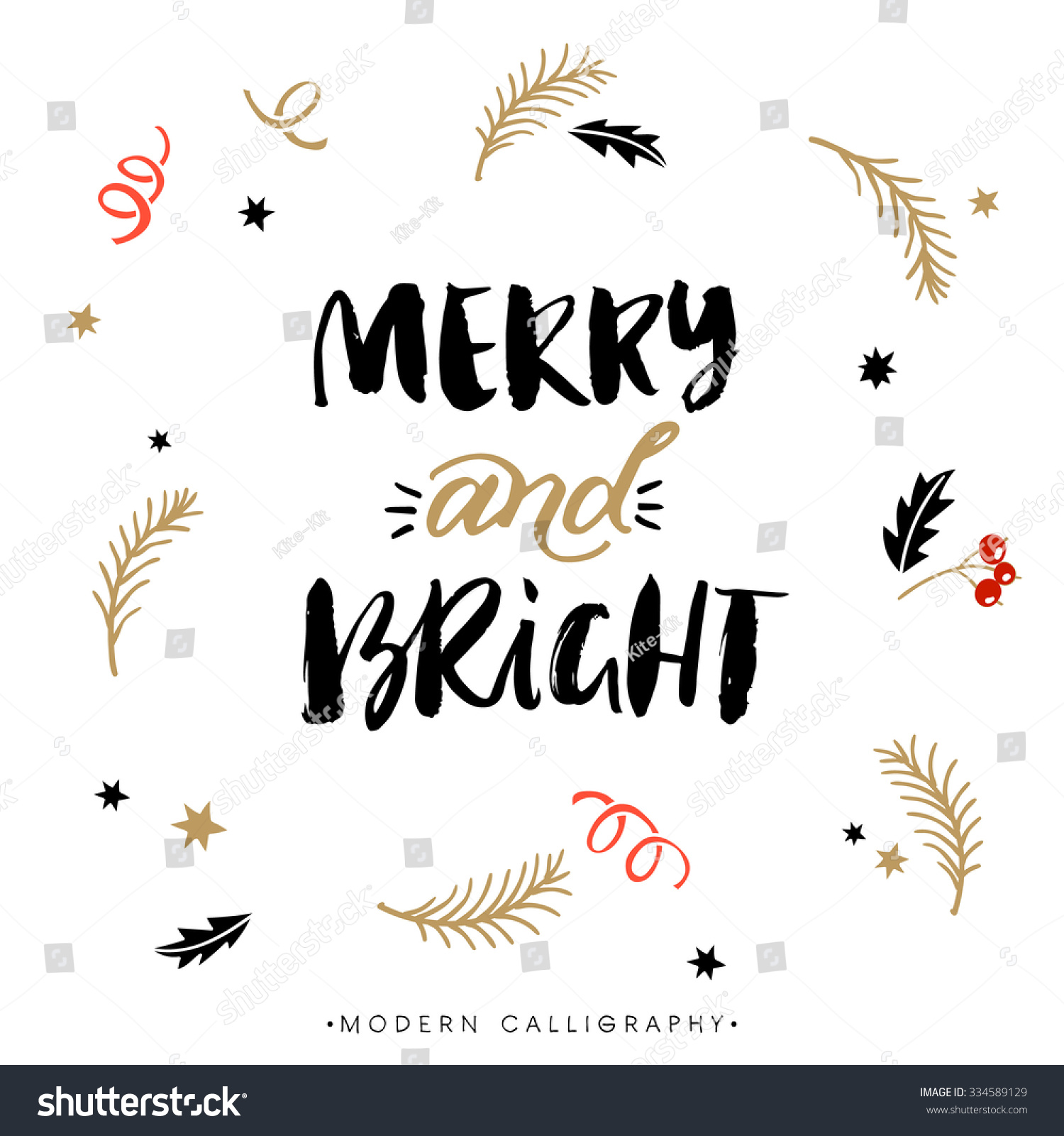 Merry and bright christmas calligraphy handwritten