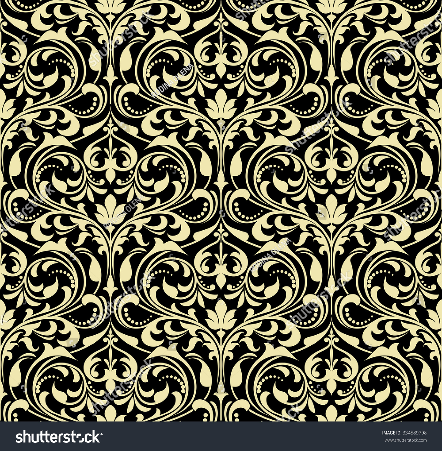 Black and gold floral wallpaper