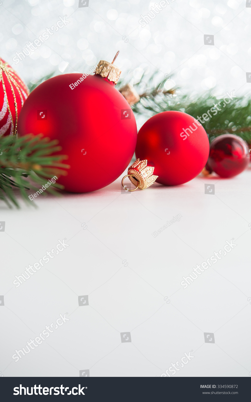 Red xmas ornaments on white background. Merry christmas card. Winter ...