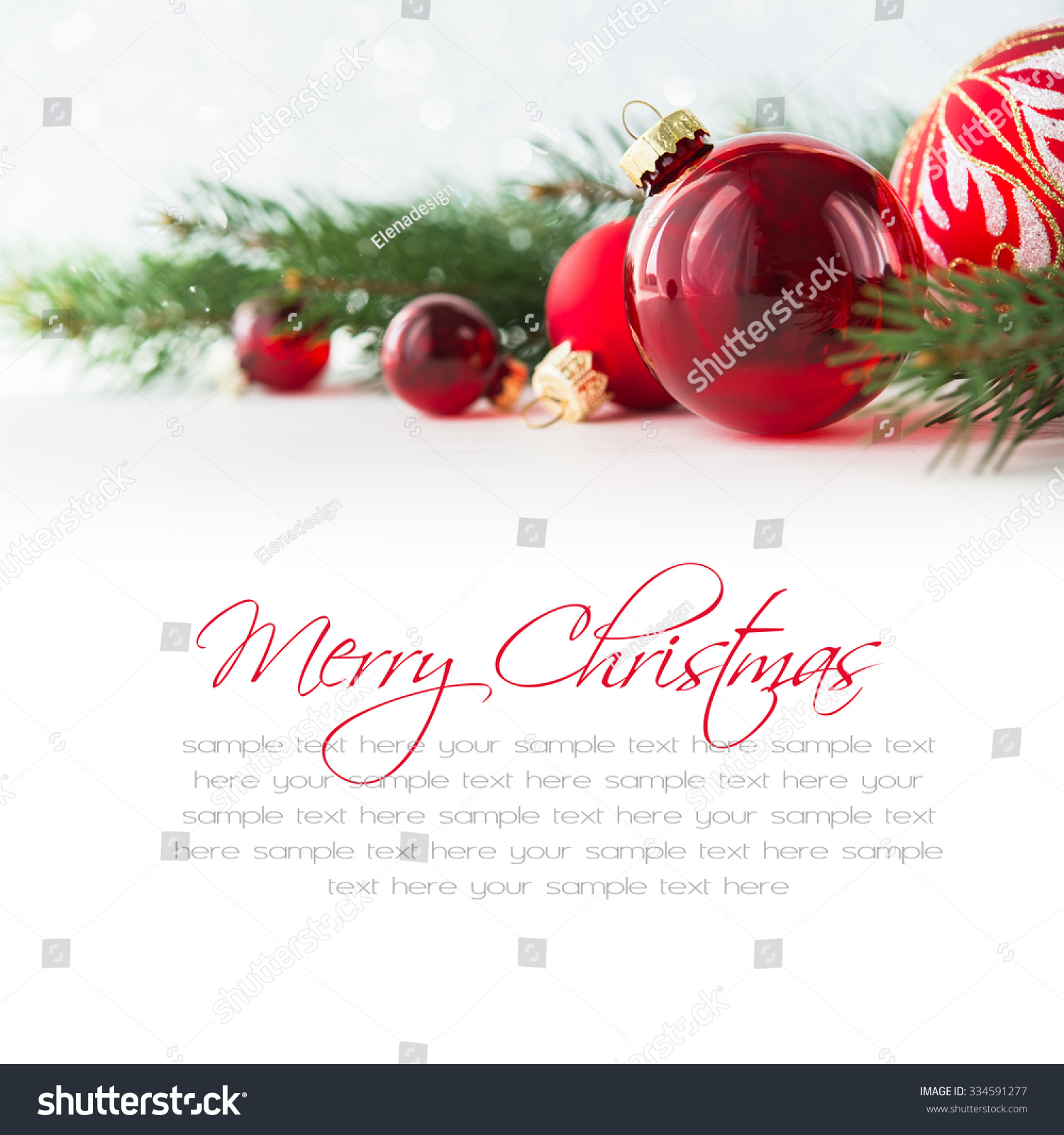 Red Xmas Ornaments On White Background Stock Photo (Edit Now ...