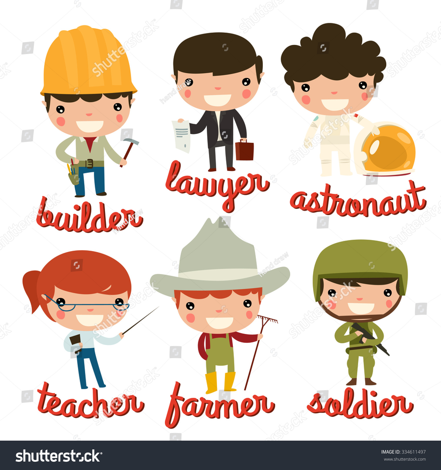 Professions Children Builder Lawyer Astronaut Teacher Stock Vector ...