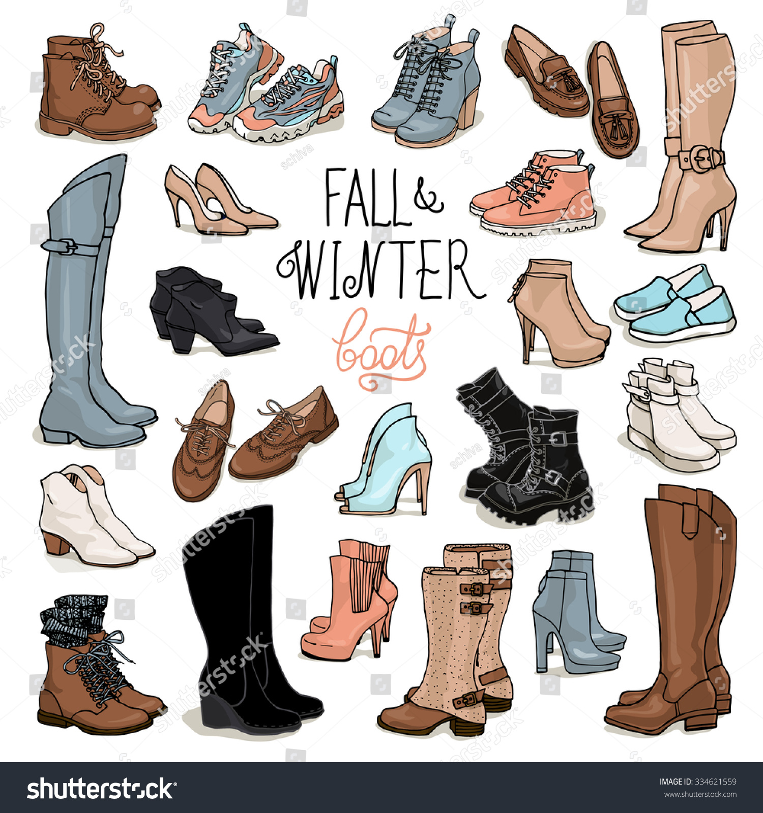Boots fashion pic boots clip art - Vector Illustration Of Woman Fall And Winter Shoes Boots Set Hand Drown Footwear