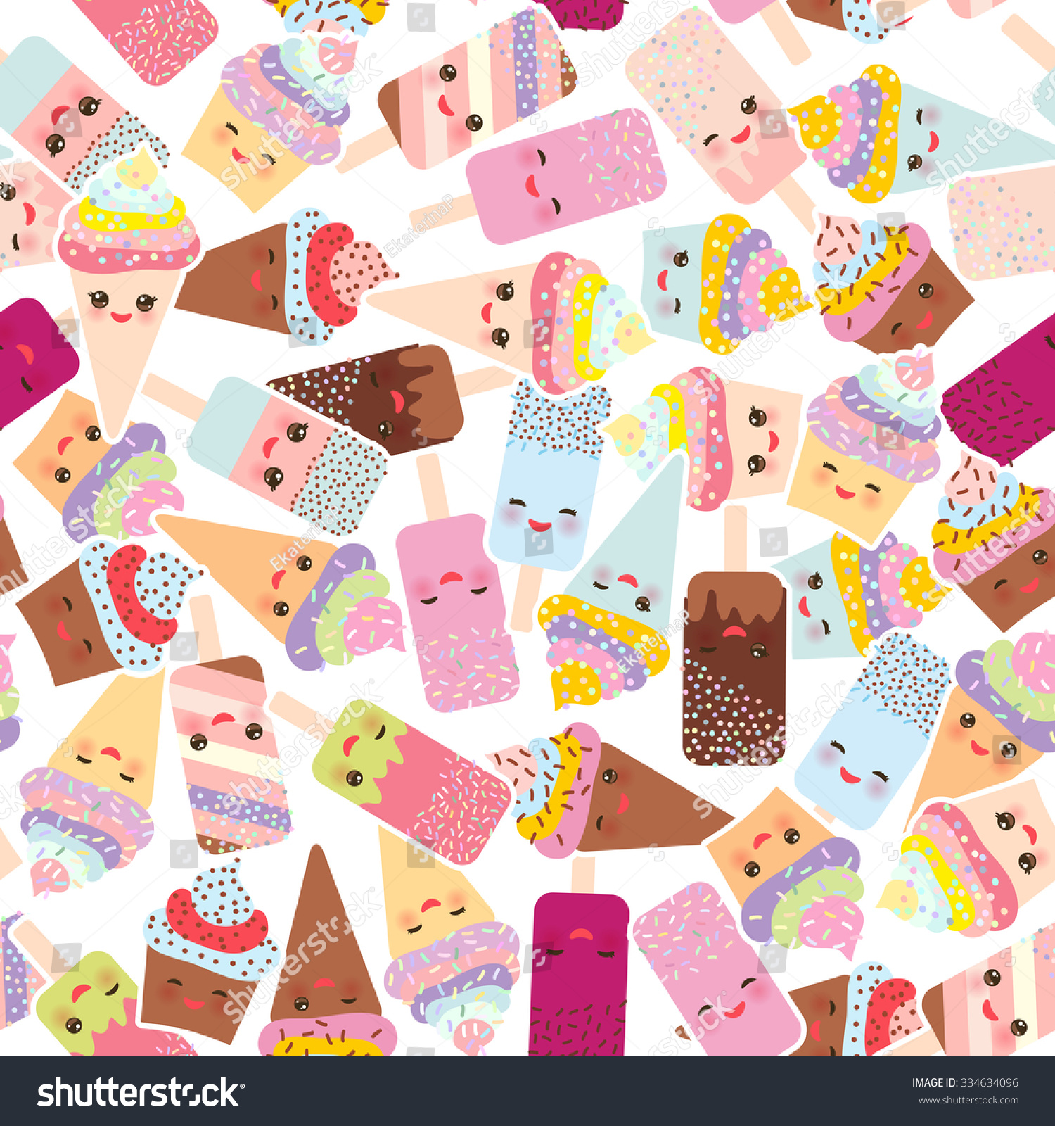 Ice Cream Cones Seamless Pattern Background Stock Vector: Seamless Pattern Cupcakes With Cream, Ice Cream In Waffle
