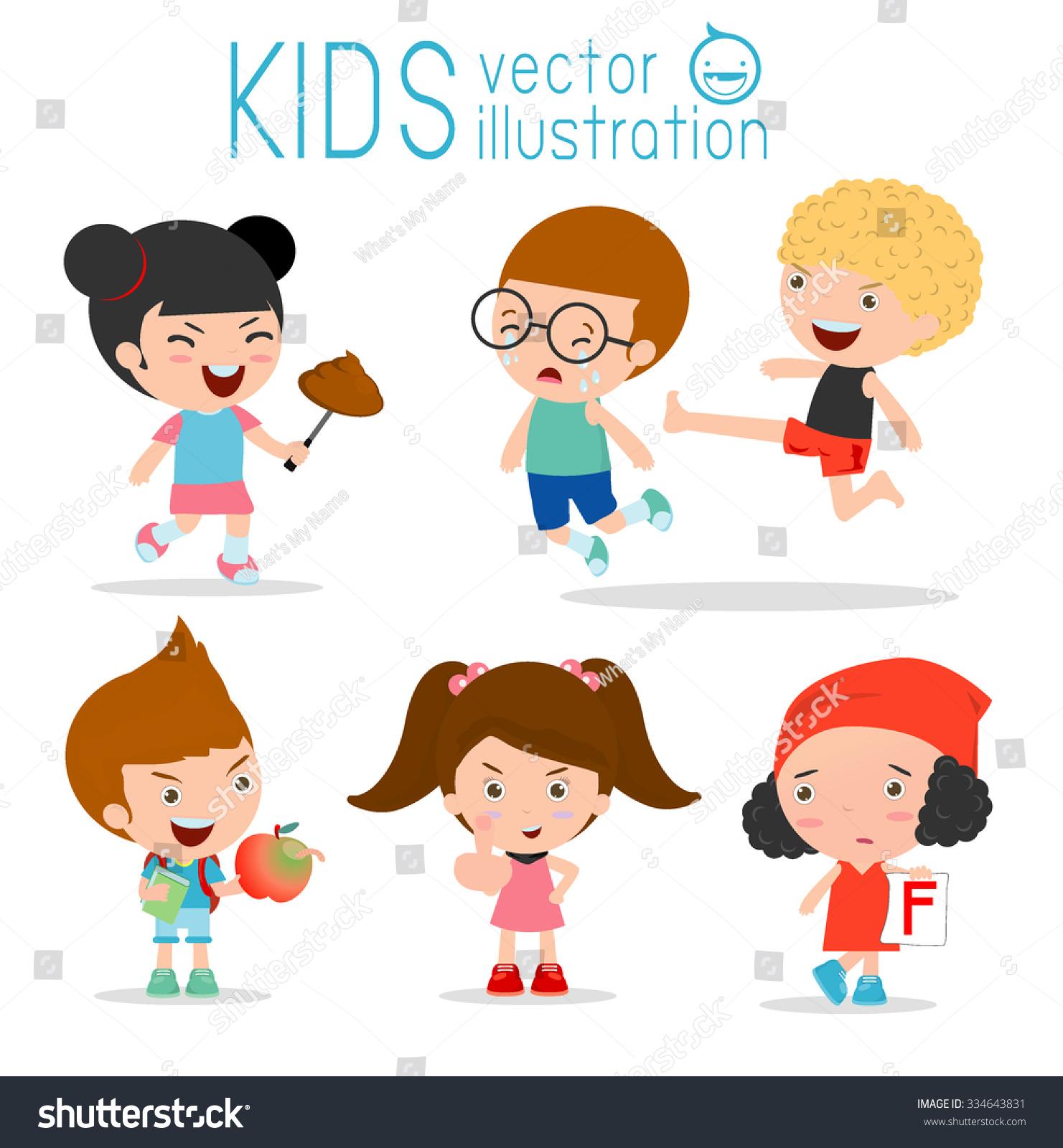 Bad Child Behaviorbad Kidsbad Boybad Girl Stock Vector