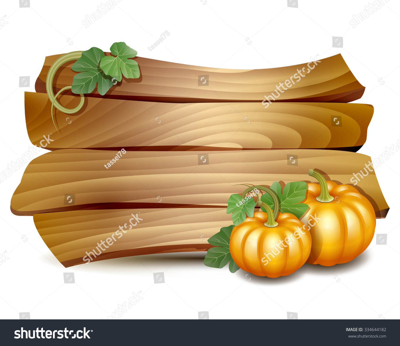 Thanksgiving Card Wooden Banner Pumpkins Leaves Stock Vector ...