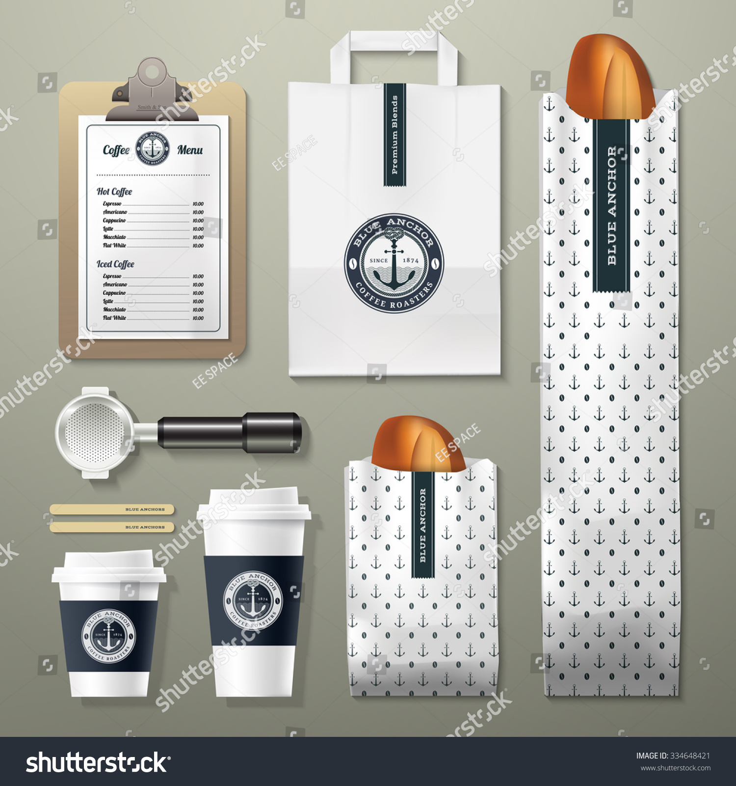 Blue Corporate Stationary Pack By Betty Design: Blue Anchor Coffee Shop Corporate Identity Stock Vector