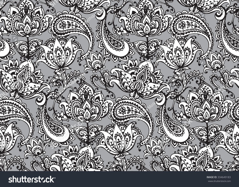 Henna Mehndi Vector : Vector seamless pattern hand drawn henna stock 334649183
