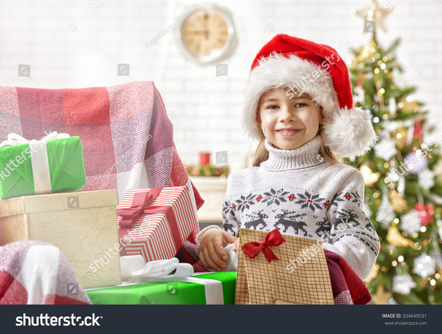 Cute Little Girl Christmas Gifts Stock Photo (Edit Now) 334649531 ...