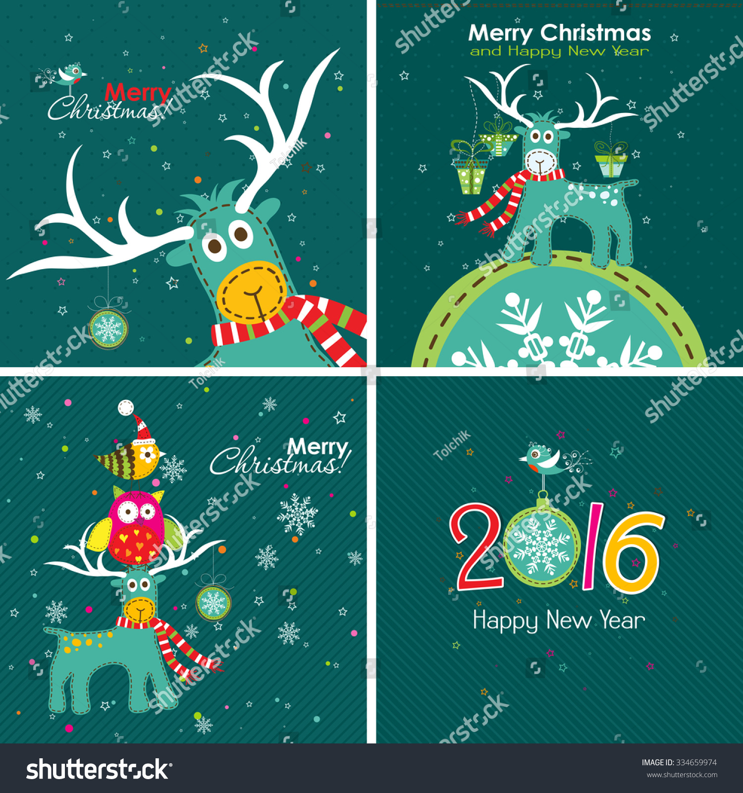 Christmas Greeting Card Deer Owl Words Stock Vector 334659974