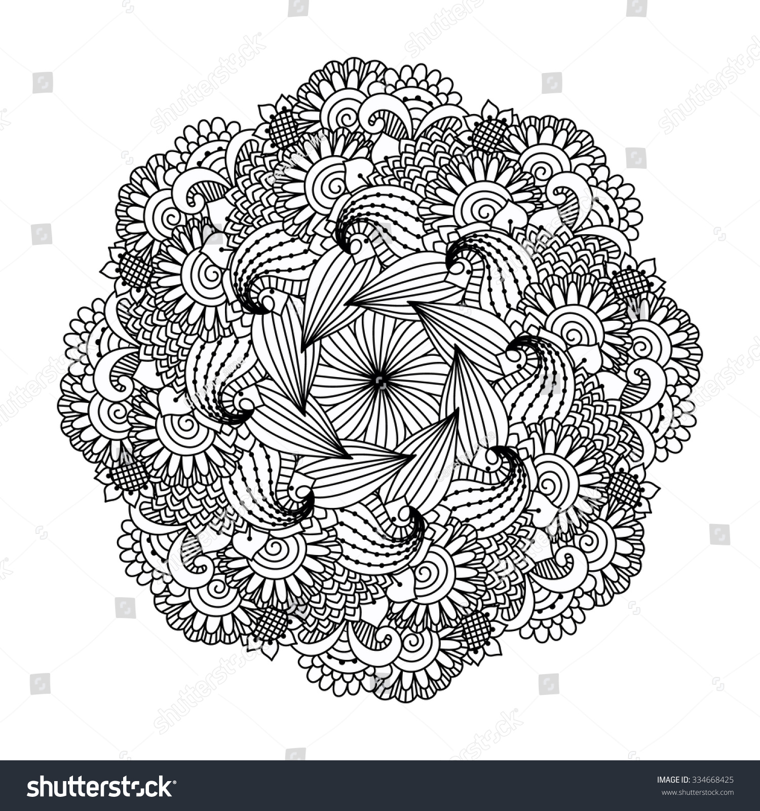 Valentines Day Heart Zentangle Black And White Love Passion Symbol In Adult Coloring Books Style Vector Illustration Can Be Used For Web Design