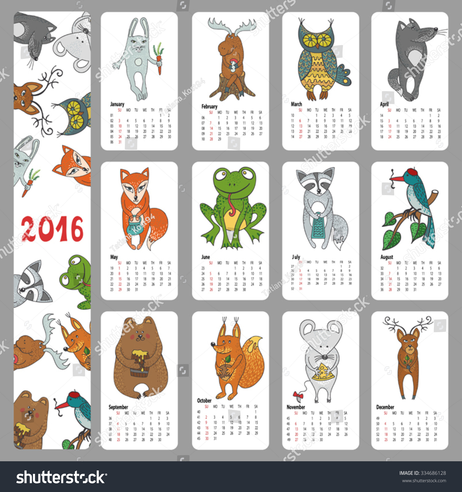 Year Calendar Animal : Calendar new yearwoodland animals sethand stock