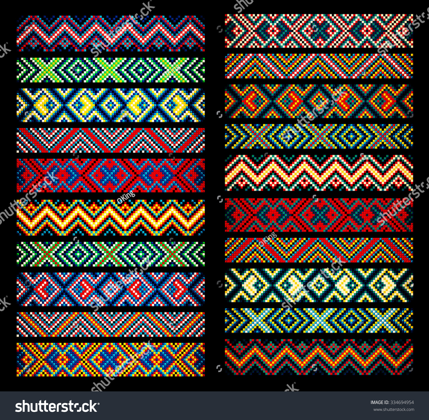 Trendy contemporary ethnic seamless ribbons braid stock