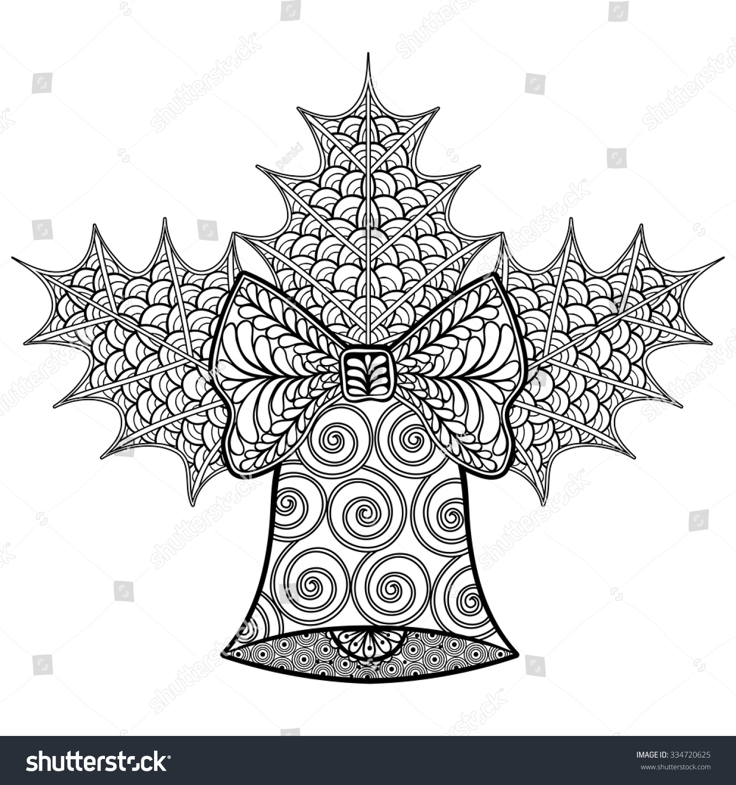 coloring pages christmas decorative bell mistletoe stock vector