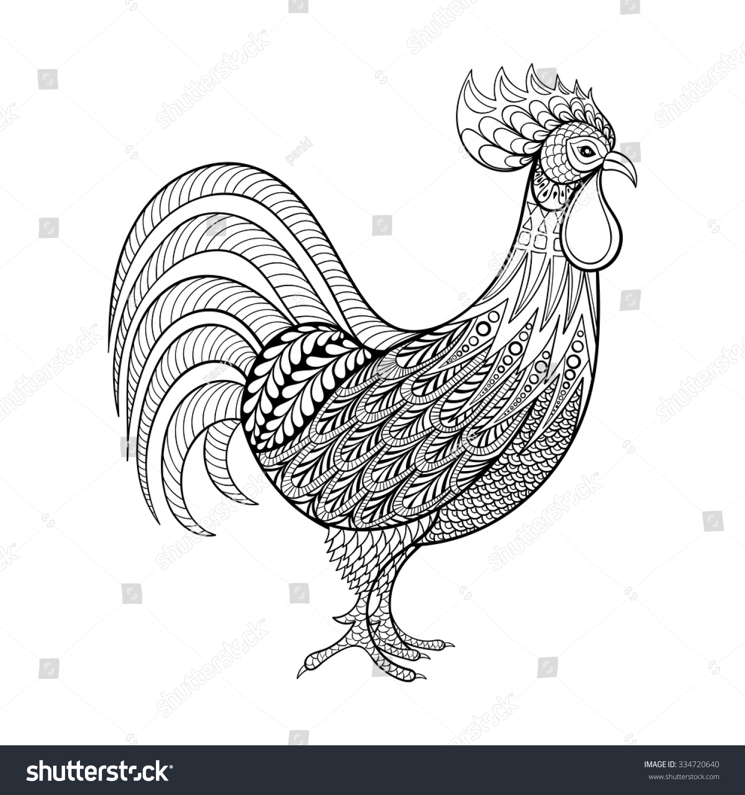 Rooster Chicken Domestic Farmer Bird For Coloring Pages Zentangle Illustration Adult Anti