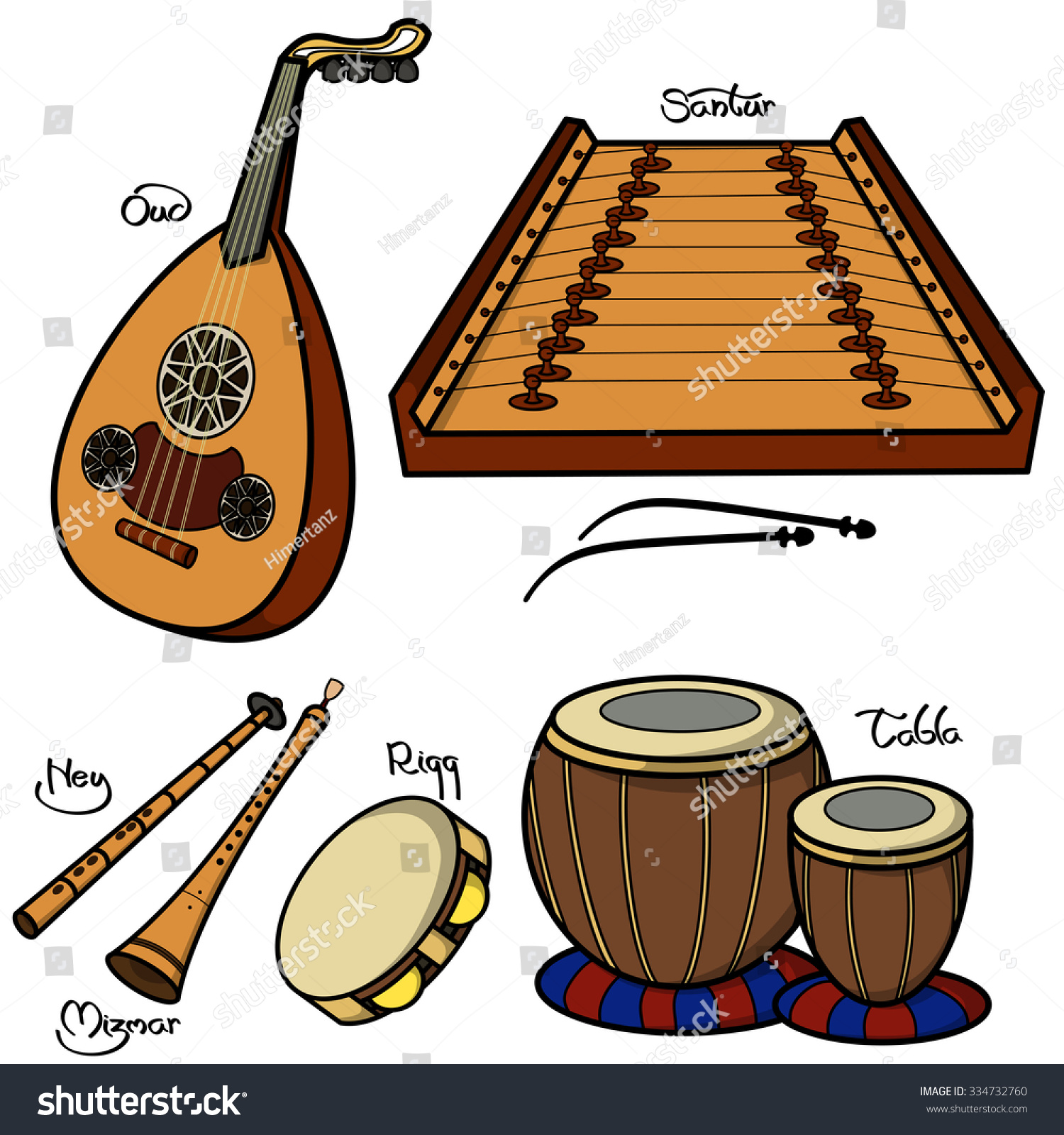 Set hand drawn traditional arabic musical stock vector for Cuisine instrument