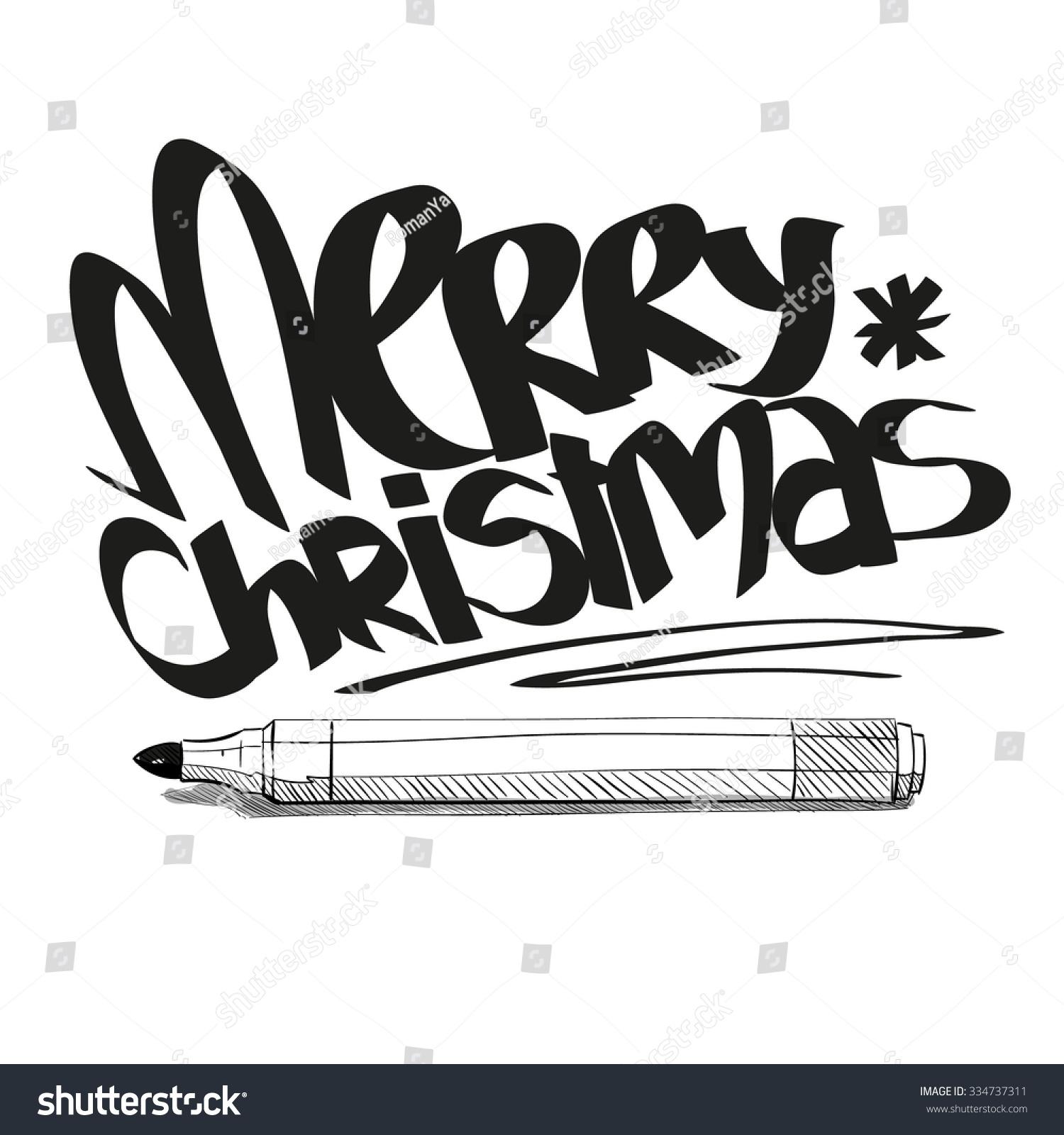 Merry Christmas Graffiti Letters Design Hand Stock Vector