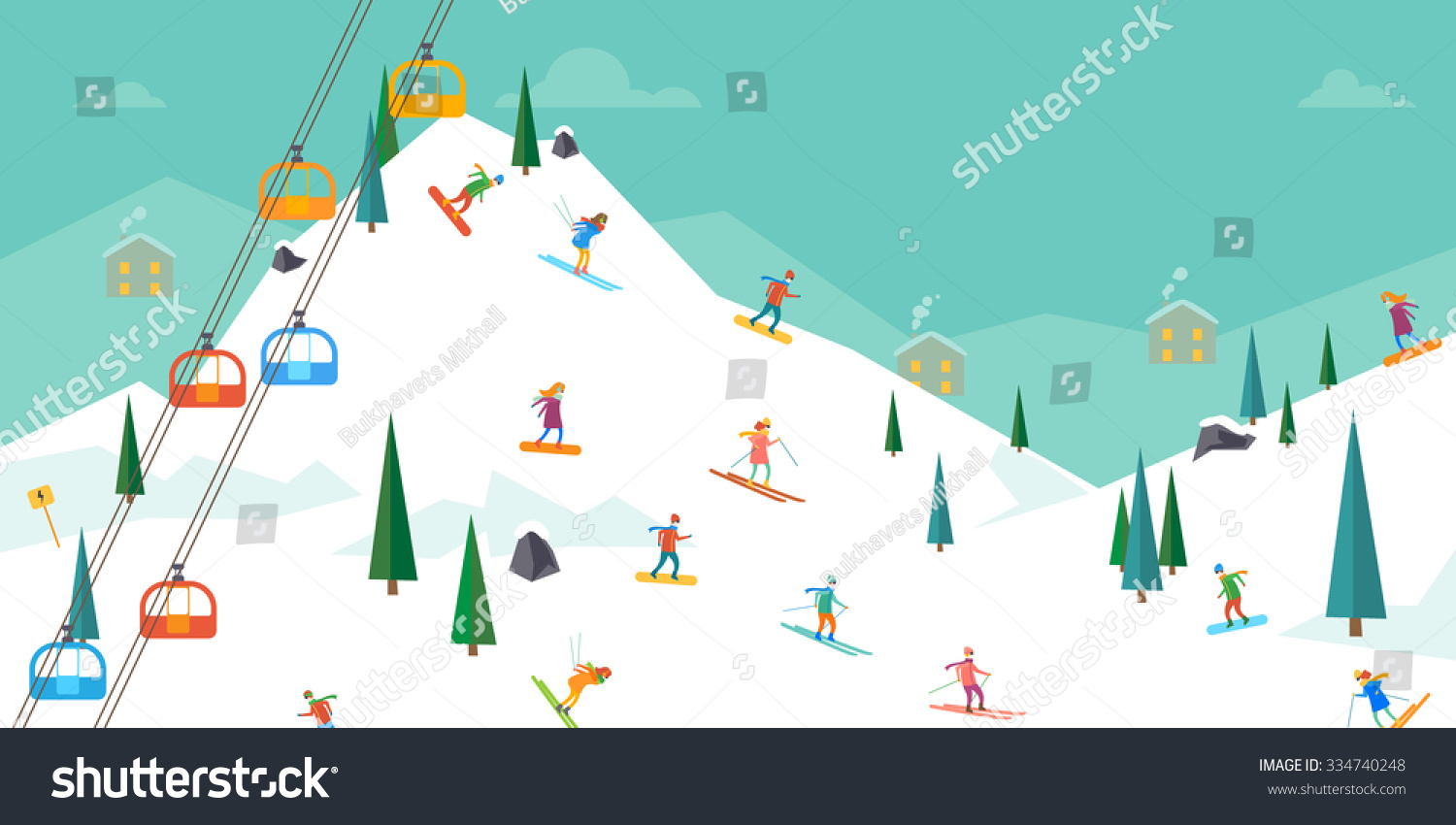 Winter sport ski resort vector illustration stock vector for Designhotel ski