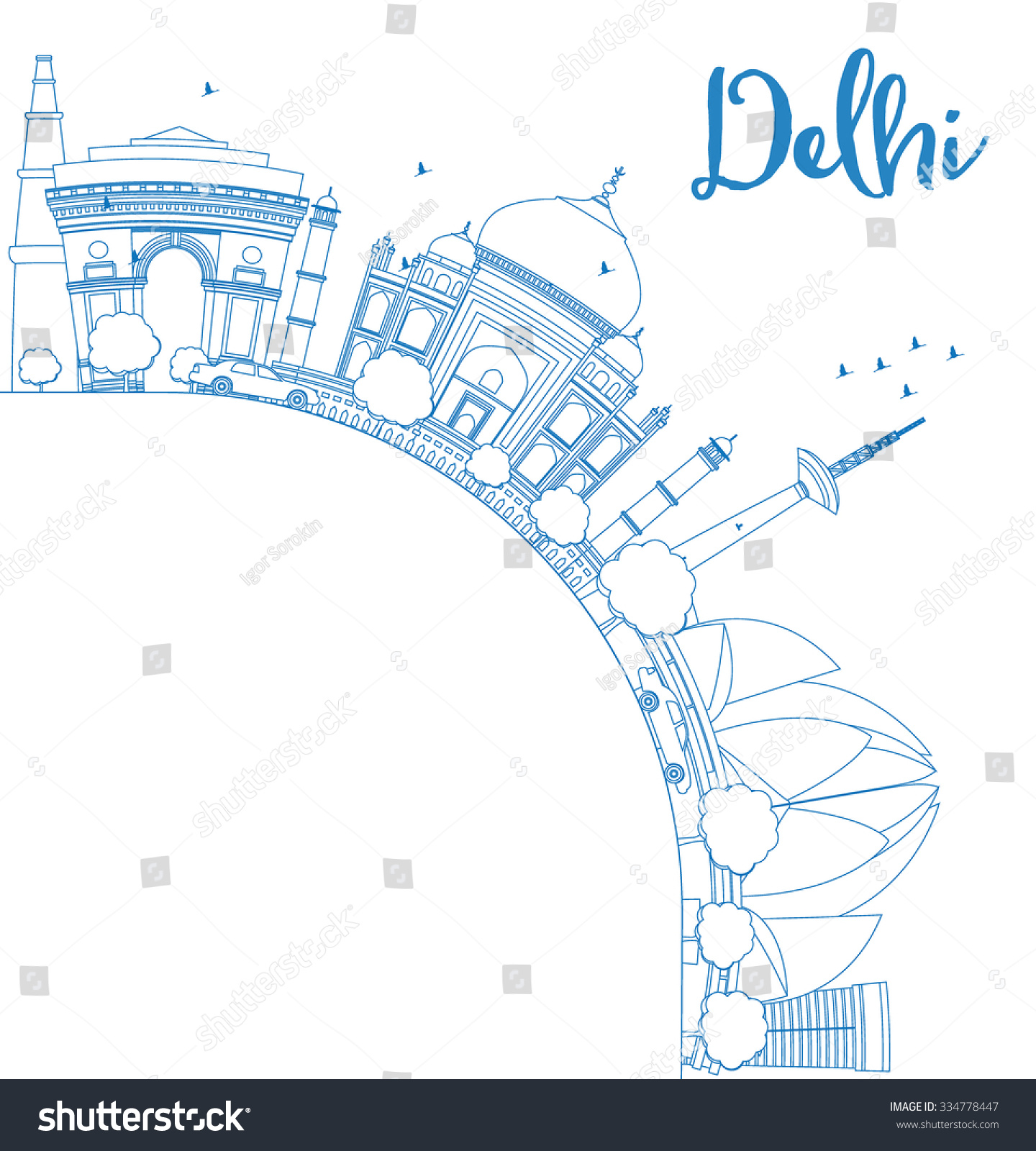 Outline athens skyline with blue buildings and copy space stock vector - Outline Delhi Skyline With Blue Landmarks And Copy Space Business Travel And Tourism Concept With