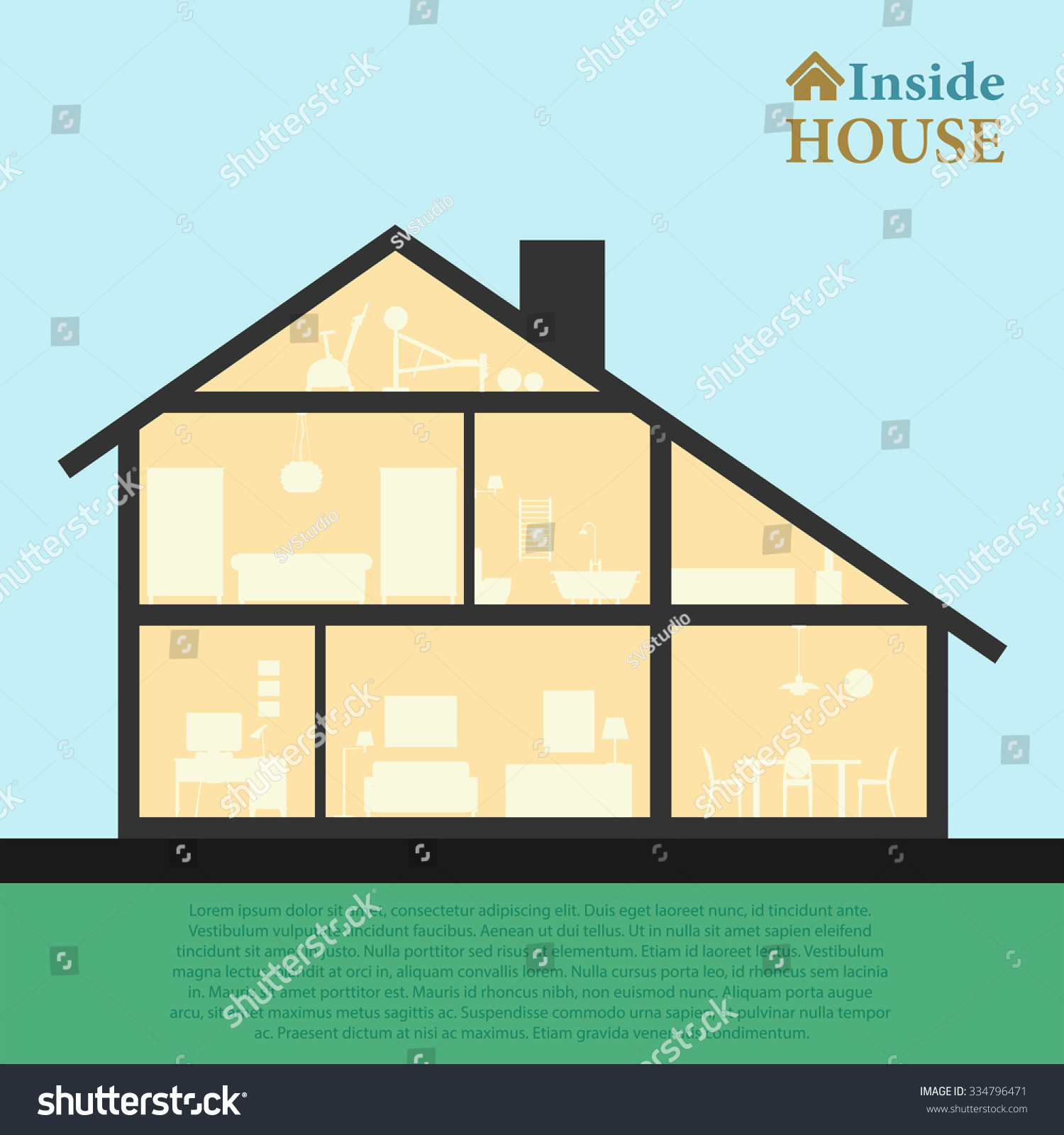 House Inside Detailed Modern House Interior Stock Vector 334796471 ... - ^