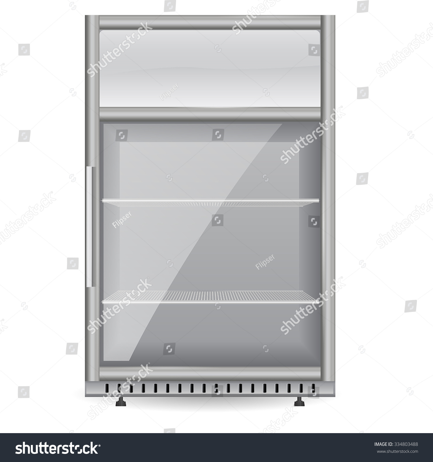 fridge drink with glass door mini display cooler vector isolated on white background