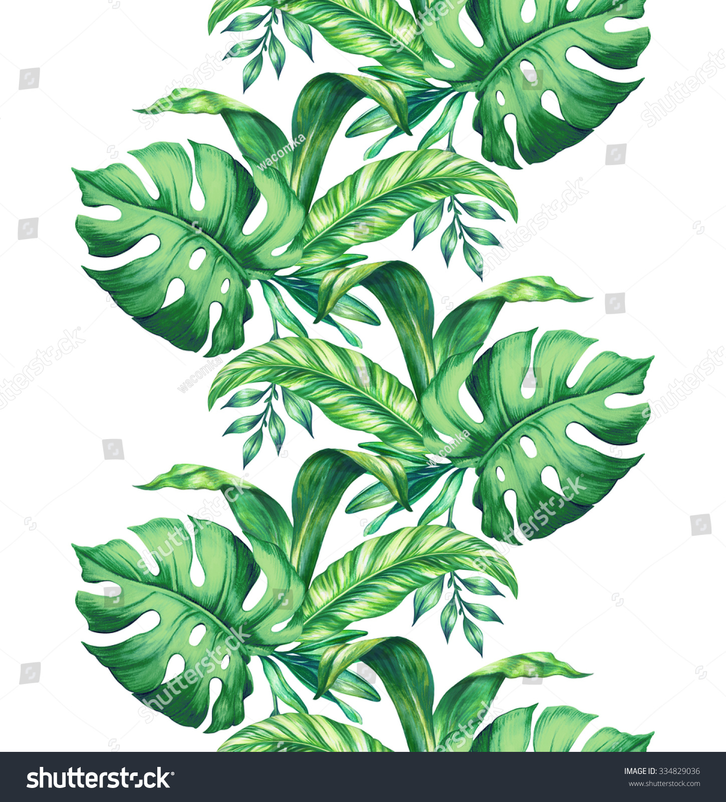 Seamless Border Watercolor Tropical Green Leaves Stock Illustration 334829036 Find images of tropical leaves. https www shutterstock com image illustration seamless border watercolor tropical green leaves 334829036