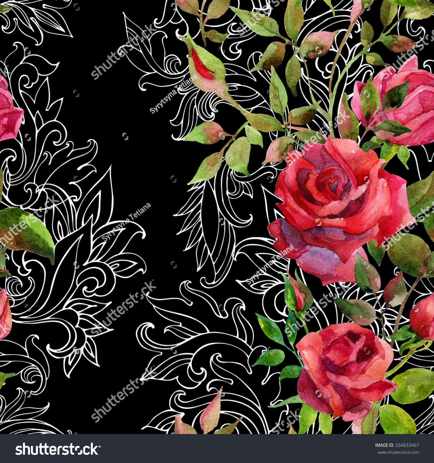 Red Roses Baroque Ornament Watercolor Stock