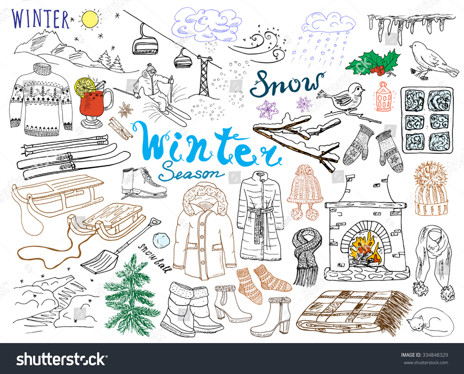 winter season set doodles elements hand stock vector wine bottle glass graphic red wine glass graphic