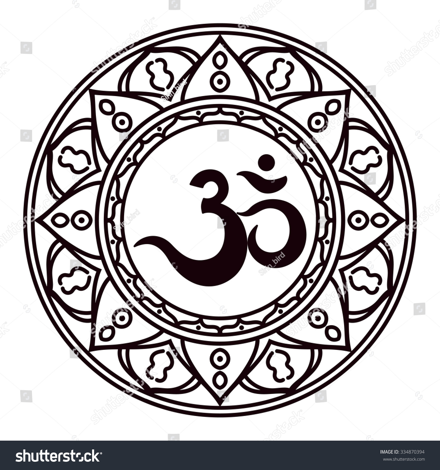 Mantra A Word Of Power The Symbol Divine Triad Brahma Vishnu And Shiva Rich Round Mandala For Prints Textiles Mehendi Coloring Book
