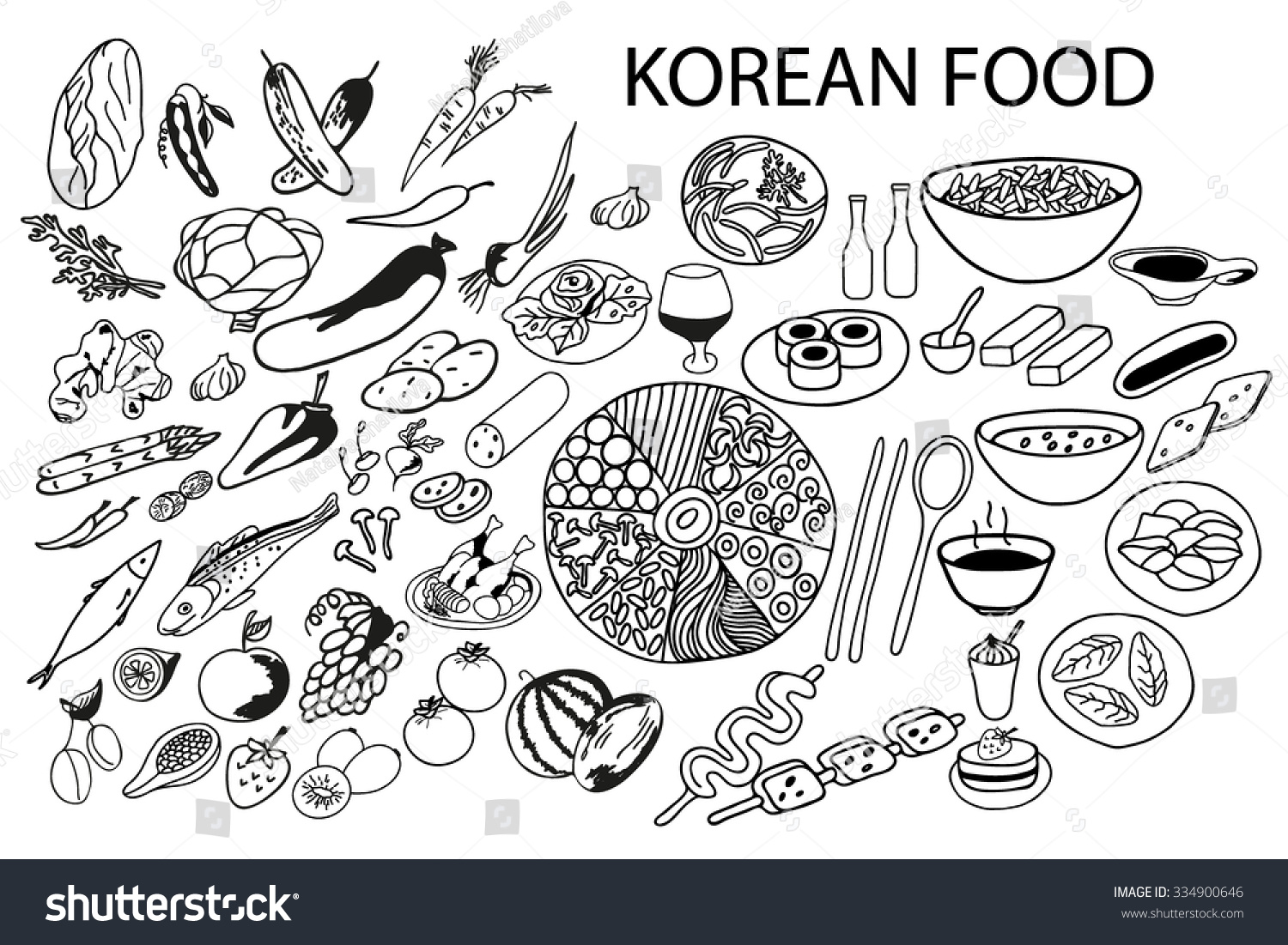 Set Of Vector Elements For Healthy Food Hand Drawn Black And WhiteKorean