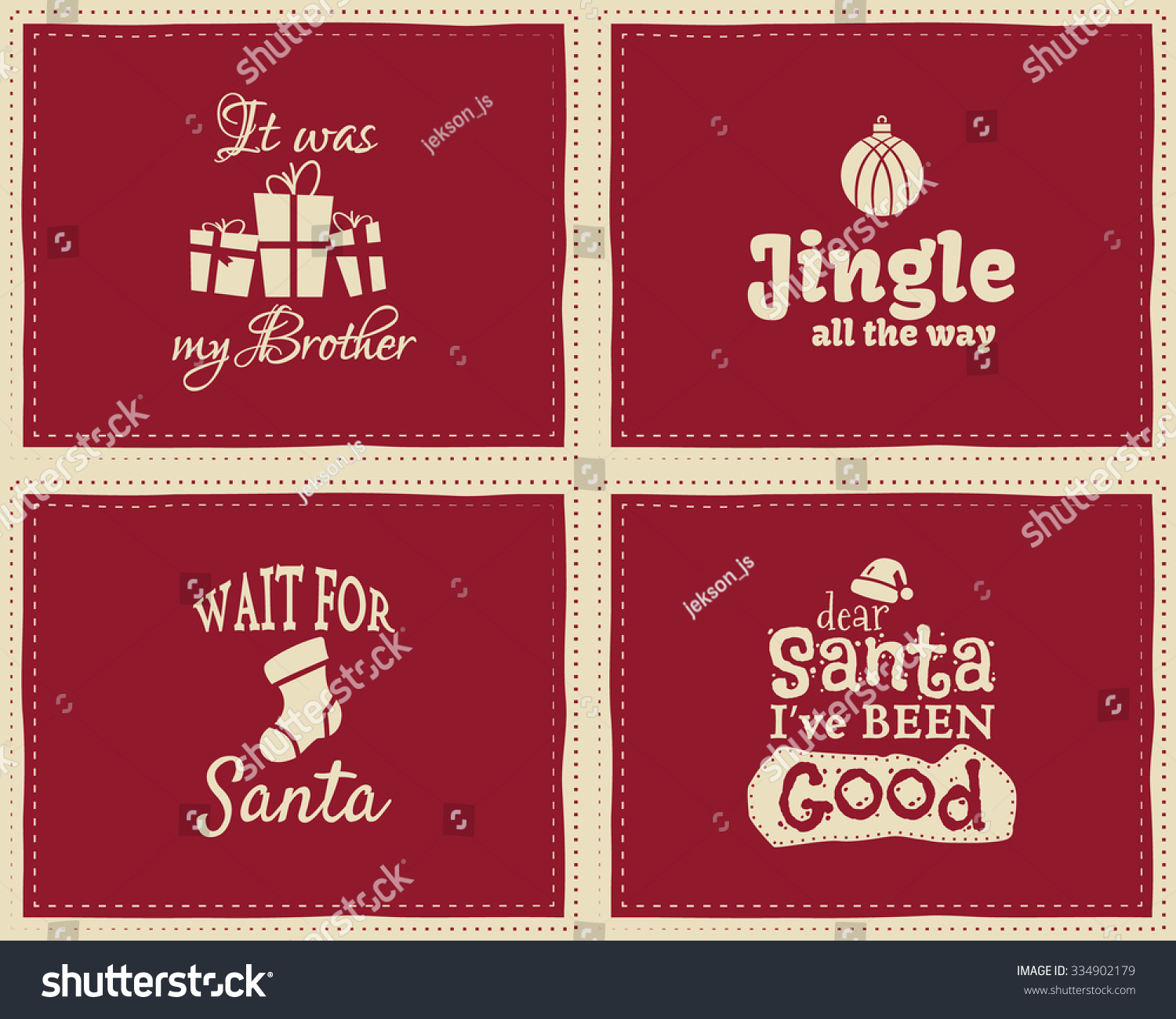 Signs Quotes Set Unique Christmas Funny Signs Quotes Stock Vector 334902179