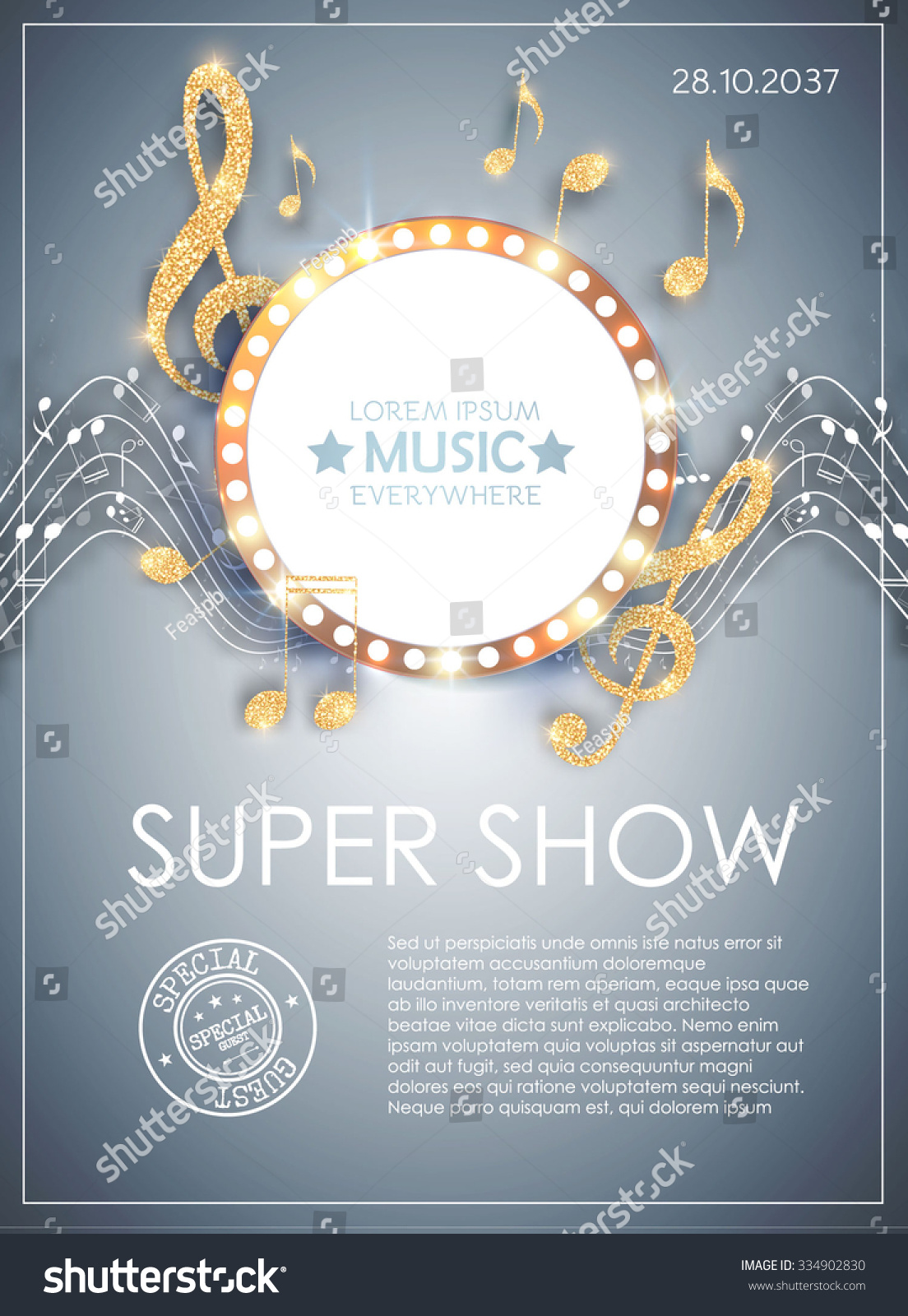 Poster design notes - Music Poster Template With Circle Banner Notes Treble Clef Shining Design Vector
