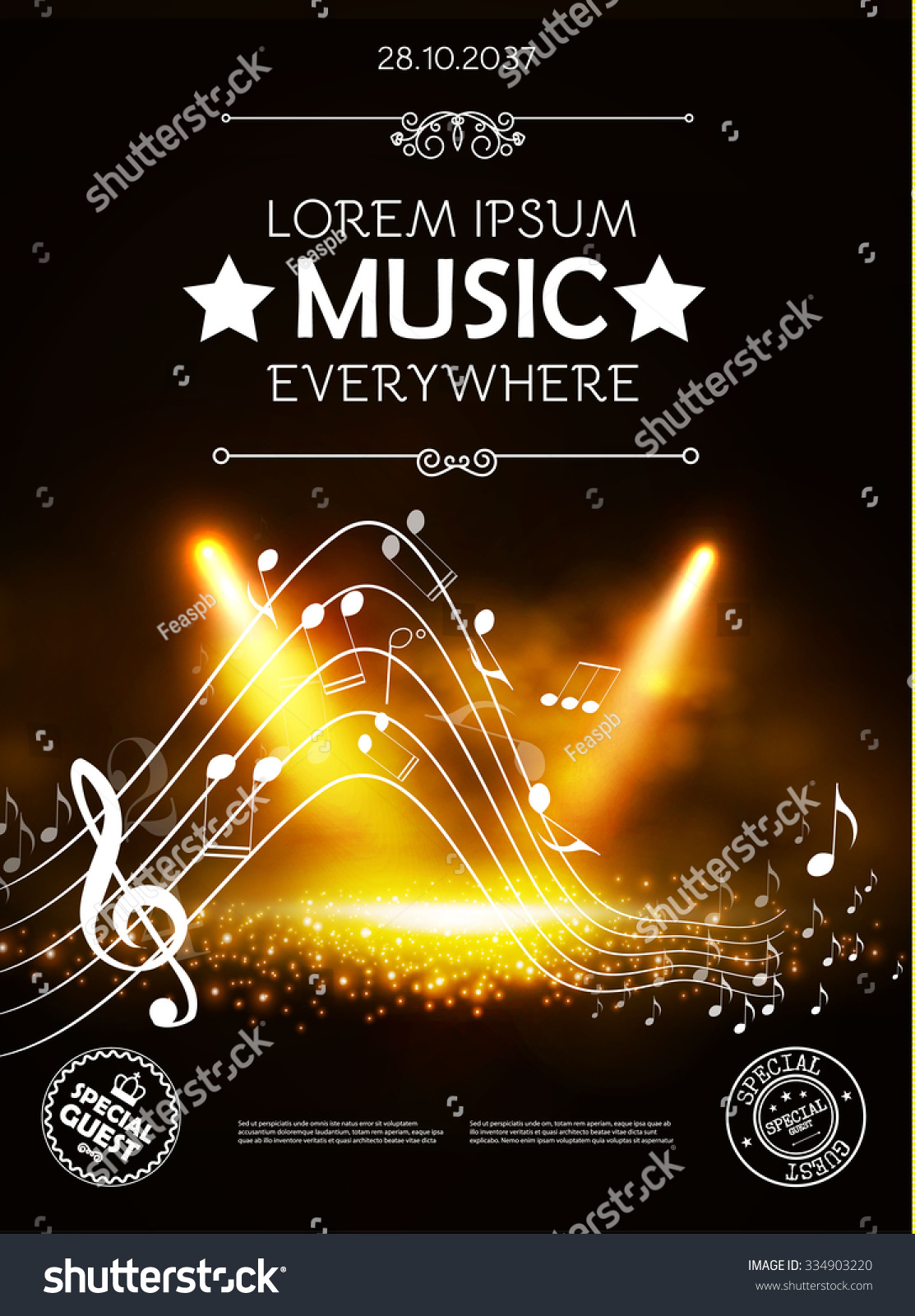 Music Theater Show Poster Template With Notes Spotlights Vector Background