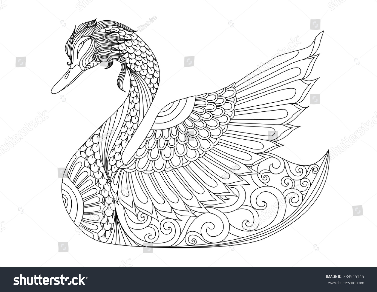 Drawing Zentangle Swan Coloring Page Shirt Stock Vector 334915145 ...
