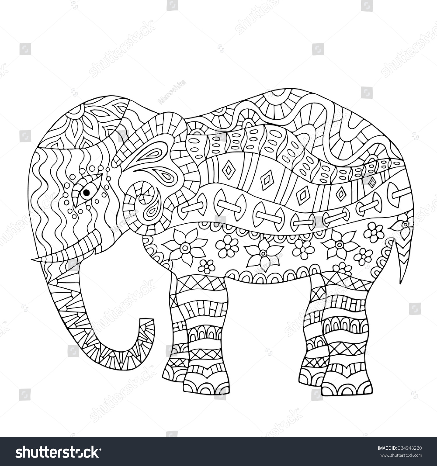Hand Drawn Elephant Coloring Page Coloring Stock Vector
