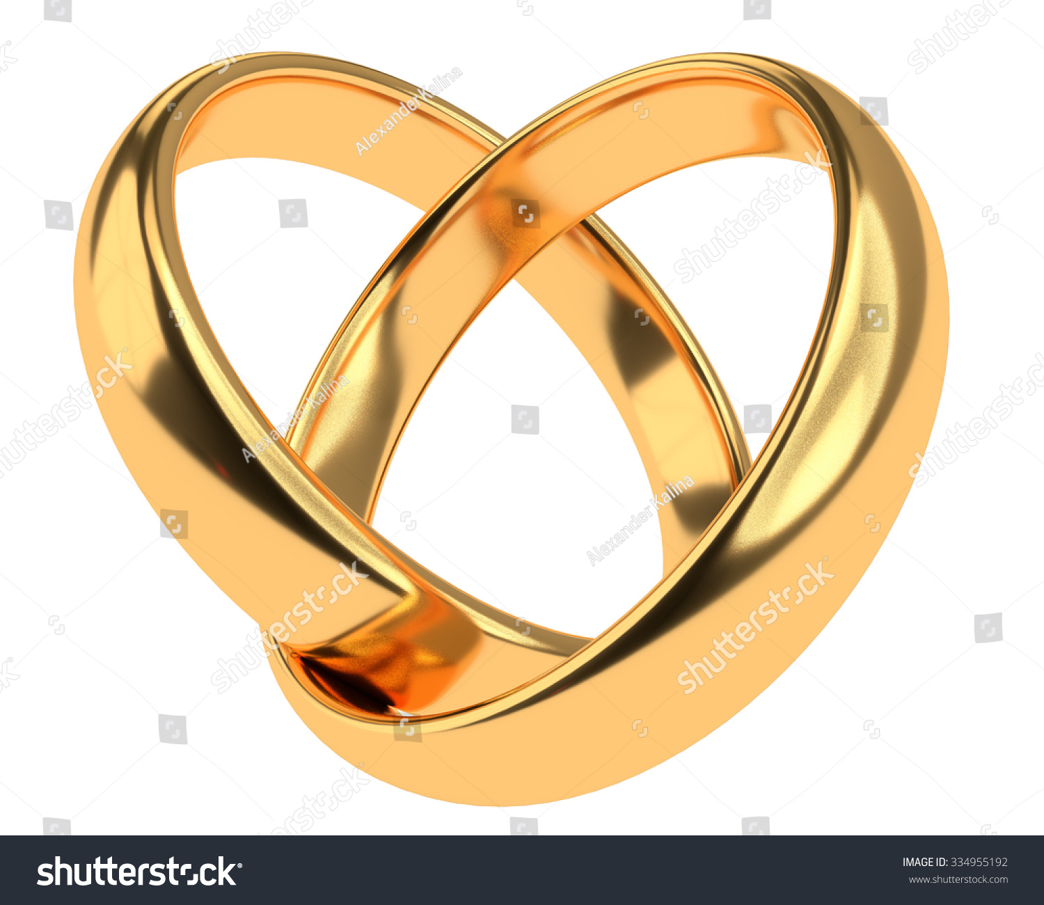 Heart With Two Connected Gold Wedding Rings Isolated On