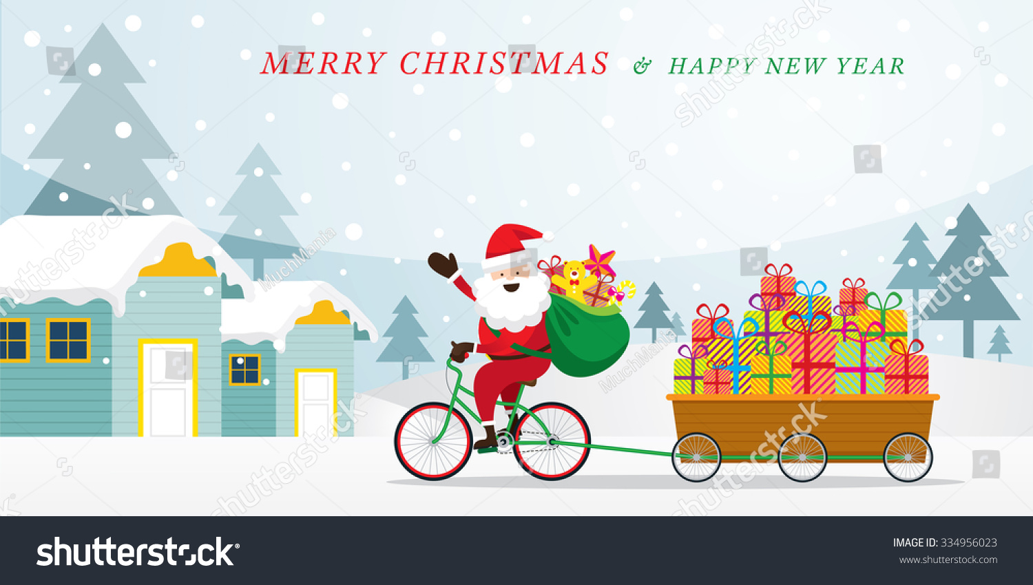 Santa Claus Cycling Bicycles with Gift Boxes in Cart Houses and Snowfall Background Merry Christmas and Happy New year