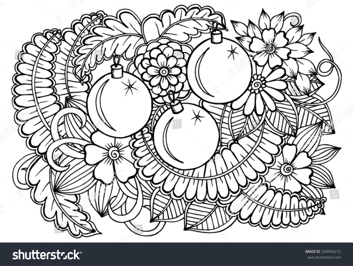 Zentangle Christmas Ornament Party Card Stock Vector (Royalty Free ...