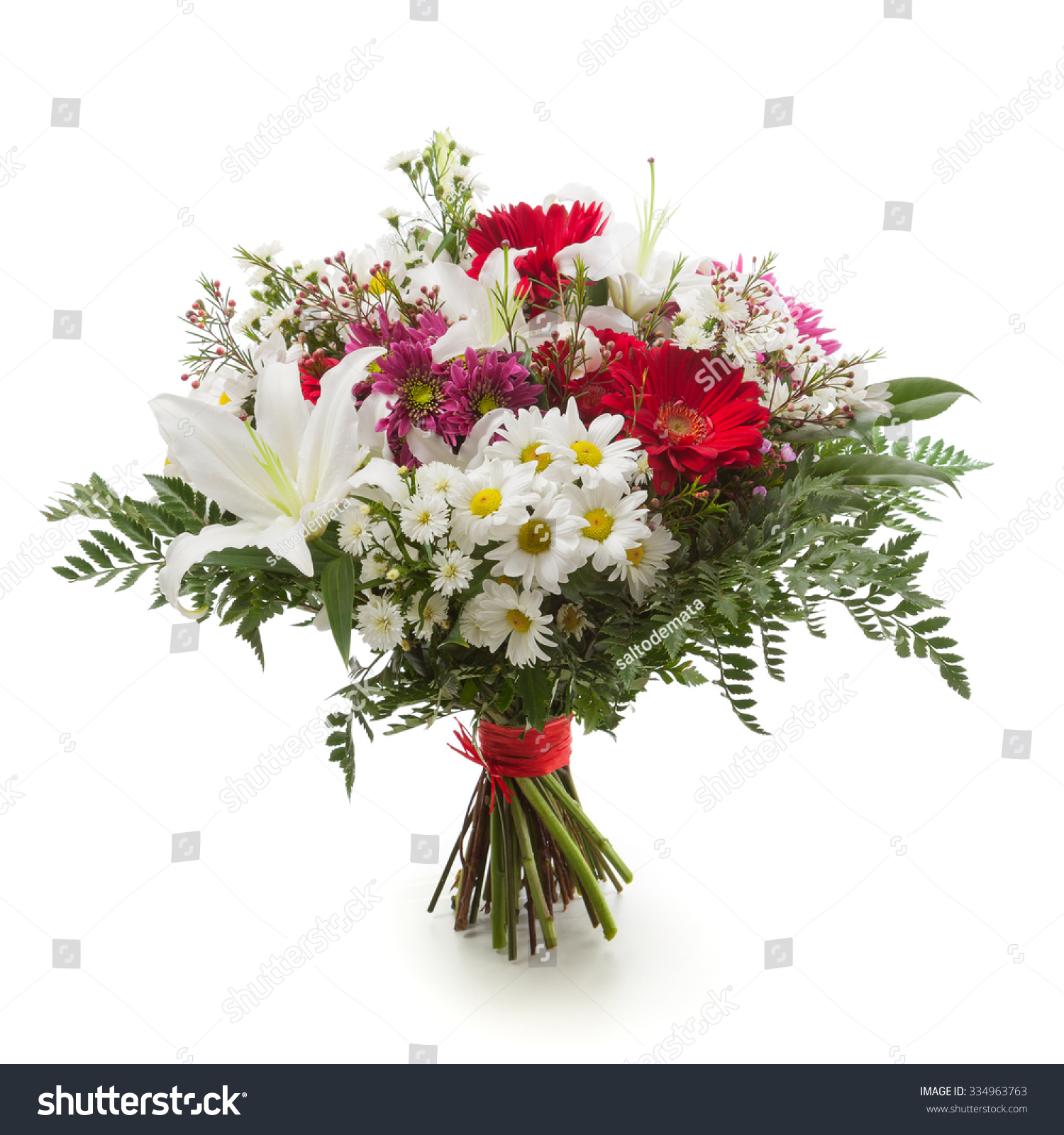 Flower Bunch Made Of Lily Chrysanthemum And Gerber Flowers Ez Canvas