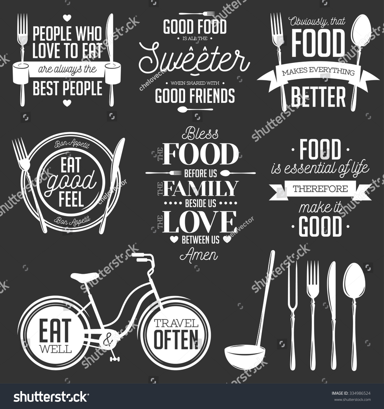 Set Vintage Food Related Typographic Quotes Stock Vector 334986524 Shutterstock