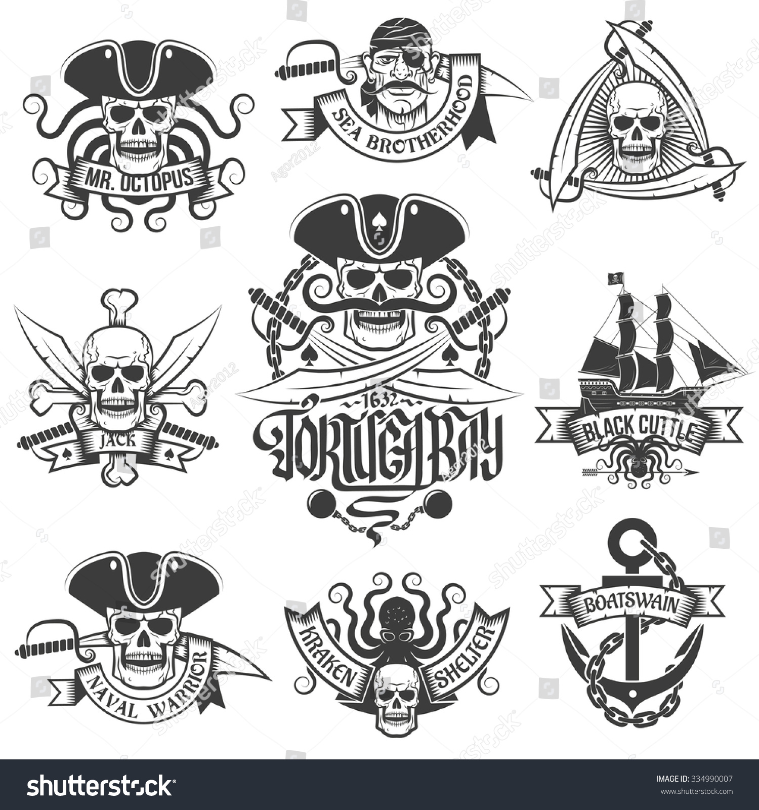 Corsair logo set in vintage style Tattoos with pirate skulls