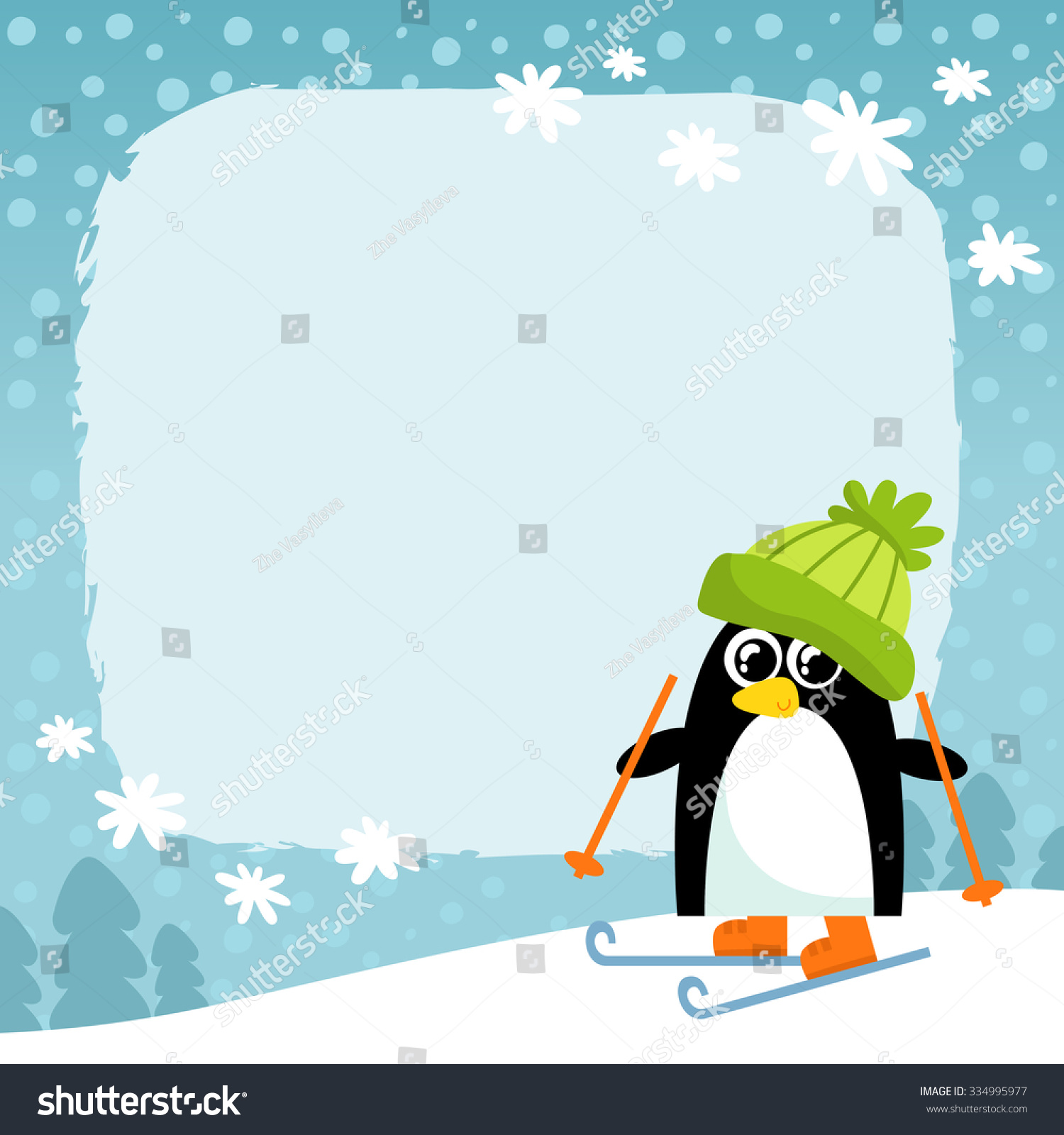 Fox with a hat new year or christmas animal isolated on white - Vector Penguin In Green Hat On Winter Snowy Background Cute Cartoon Animal Character Christmas