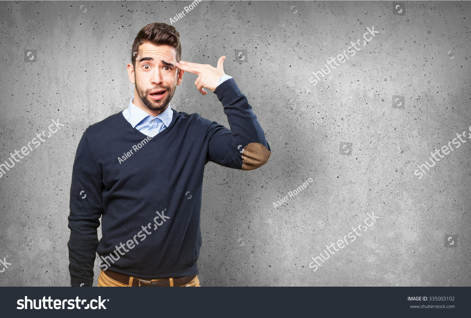 cool man doing a suicide symbol #335003102