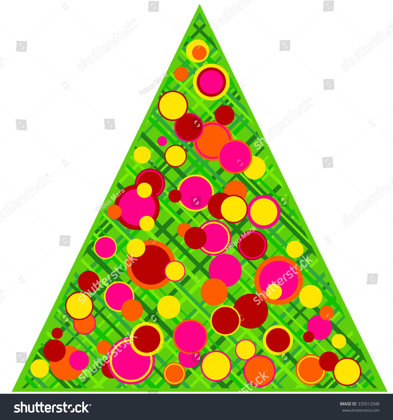 Stylized christmas tree disco ornaments stock illustration